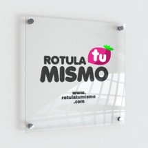 Placa metacrilato transparente rotulada